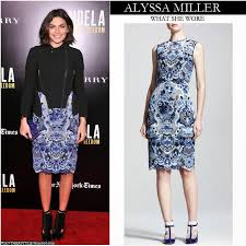 what she wore alyssa miller in blue embroidered lace dress with