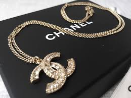 rhinestone pendant necklace images Authentic chanel gold crystal rhinestone pendant cc logo necklace jpg