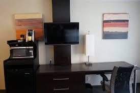 desk mini fridge microwave keurig coffee brewer tv picture