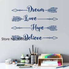 believe home decor diy vinyl bedroom decoration decals dream love hope believe arrow