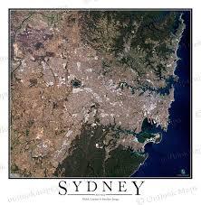australia satellite map sydney australia satellite map print aerial image poster
