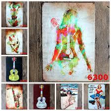 tin home decor creative guitar gril musical wall decoration matal tin sign music