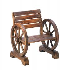 country wooden wagon wheel chair outdoor yard seat lawn ornament