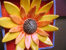 sunflower wall decor country ceramic shadow handmade
