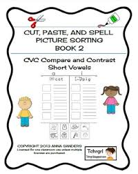 cut and paste u0026 spell phonics picture sorting worksheets cvc free