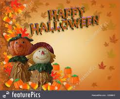 halloween fall background happy halloween border whimsical 3d text stock illustration