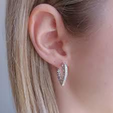 gold earrings in shape heart shaped hoop diamond earrings new wave jewellery