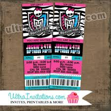 custom monster high birthday party photo invitation tickets
