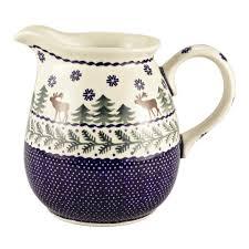 polish pottery deer pine pitcher christmas tree shops andthat