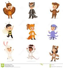 kinds in animal costume disguise happy and ready for halloween