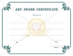 art award certificate template for kids certificate template