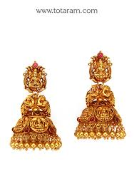 temple design gold earrings temple jewellery 22k gold lakshmi jhumkas 22k gold dangle
