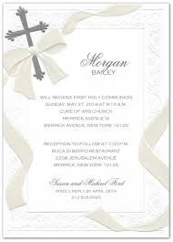 communion invitation silver foil cross and pearl ribbon communion invitations storkie