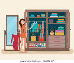 racks clothes on hangers flat style stock vector 376705774