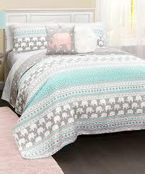 turquoise u0026 pink elephant stripe five piece quilt set striped