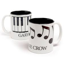 mug design personalized black white music design mug at the music stand