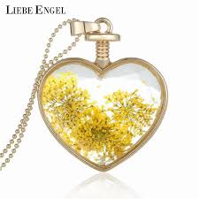 crystal glass pendant necklace images Collares dry flower heart crystal glass pendant necklace for best jpg
