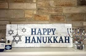 happy hanukkah signs hanukkah happy hanukkah 12x32 board and brush