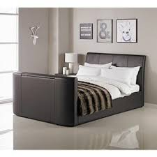 hygena lamberto double tv bed chocolate 261 94 6 95 delivery