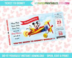 printable ticket to disney diy personalize instant download disney