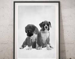 boxer dog wall art boxer drawing etsy