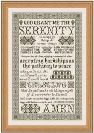 my big toe designs serenity prayer cross stitch pattern