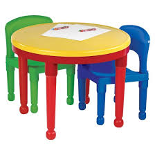 Plastic Table And Chairs Tot Tutors Round Plastic Construction Table 2 Chairs U0026 Cover Target