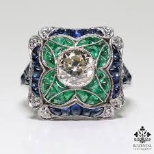 ebay rings vintage images Antique art deco platinum 115ct diamond 2ct sapphire 130ct with jpg