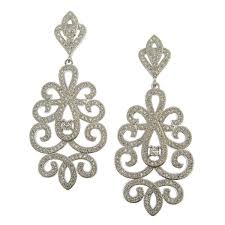 bridal chandelier earrings laise pave scroll inspired earrings bellagio