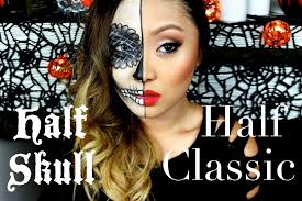 half sugar skull half classic makeup tutorial youtube