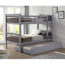 Bunk Bed Trundle Bed Furnituremaxx Grey Solid Wood Bunk Bed With Trundle Bed