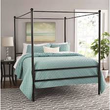 amazon com mainstays metal canopy bed queen black kitchen dining