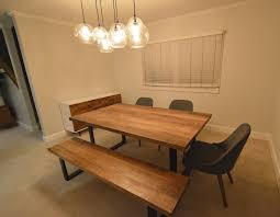 Wood Bench Metal Legs Wood Metal Dining Table With Bench And Buffet