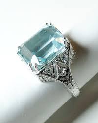 aquamarine engagement rings art deco aquamarine and diamond ring in platinum from