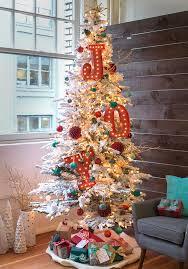 christmas flocked christmas tree stock photo image of pink