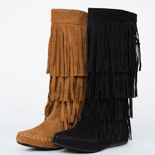 womens moccasin boots size 11 knee mid calf high faux suede moccasin fringe tassel layer
