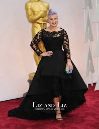kelly osbourne black lace long sleeve high low dress oscars 2015