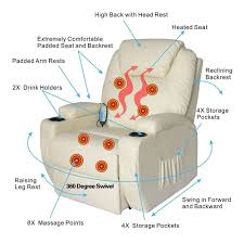 electric power recliner chair heated massage sofa lounge w remote
