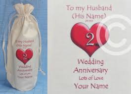personalised 2nd wedding anniversary to my husband cotton wine