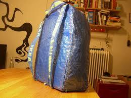ikea hack blue bag to backpack