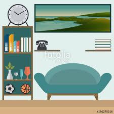 Living Room With Sofa Living Room With Sofa And Book Shelves Flat Design Vector