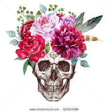 pen drawing human skull floral wreath stock illustration 322541996