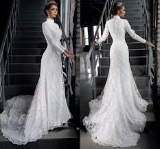 wedding dresses high vintage muslim wedding dress high neck sleeve bridal gowns