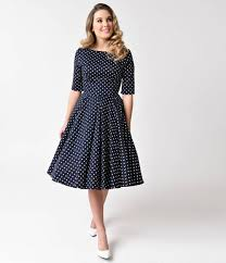vintage style navy blue u0026 white dotted half sleeve hepburn swing