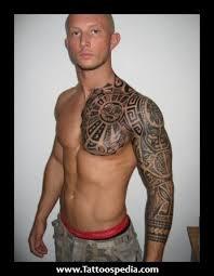 aztec chest half sleeve tattoos