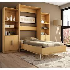 light brown lacquer solid wood wall bed with hutch and stainless