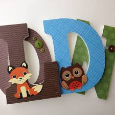 Owl Decorations For Nursery by Fox And Owl Woodland Custom Decorated Wooden Letters Nursery Name
