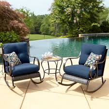 Outdoor Rocking Chair Cushion Sets La Z Boy Outdoor Avery 3 Piece Bistro Rocking Chair Set In Blue