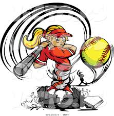 vector of a competitive cartoon female baseball player swinging
