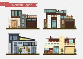 vector flat illustration traditional and modern house family home